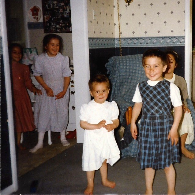 Chad and Jeffrey in dresses