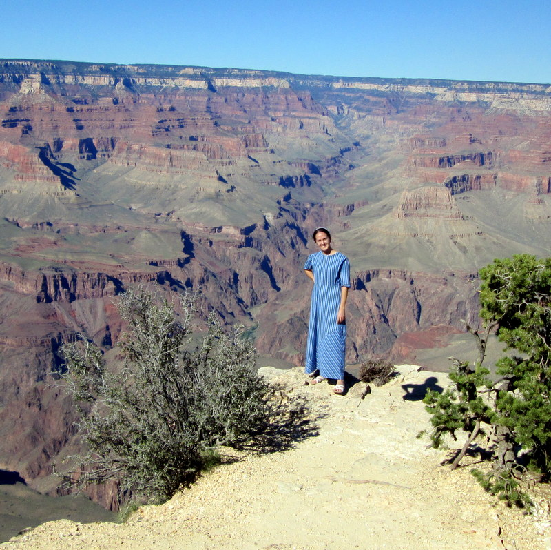 Lucinda J Miller on the edge of the Grand Canyon