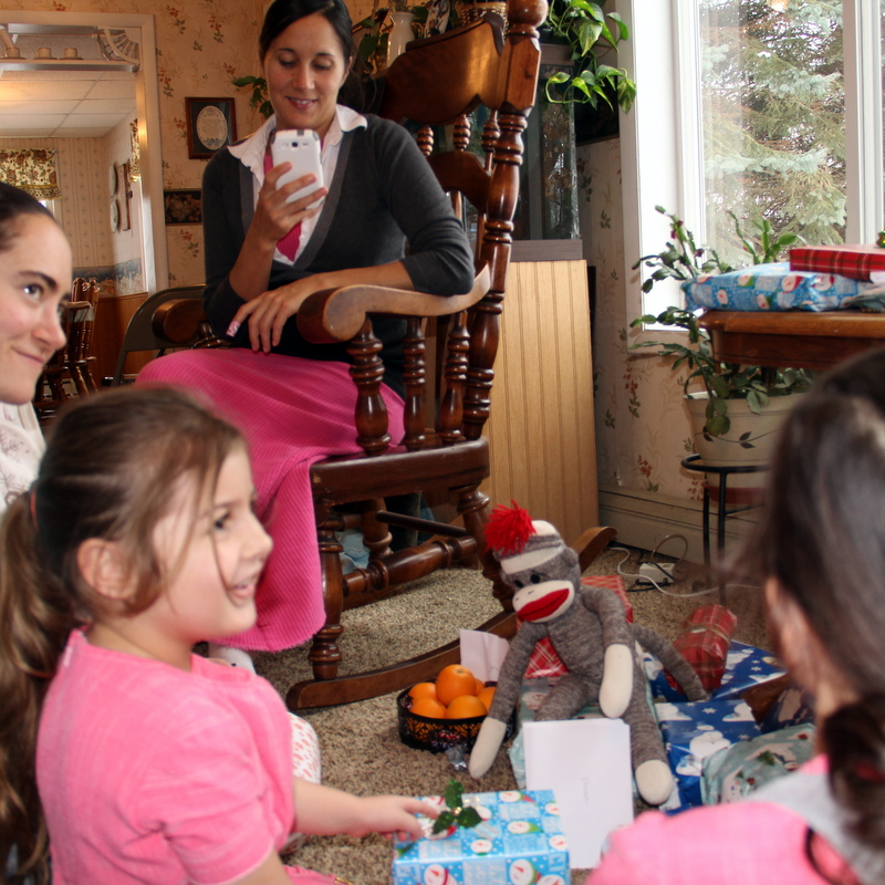 Opening presents at the Millers