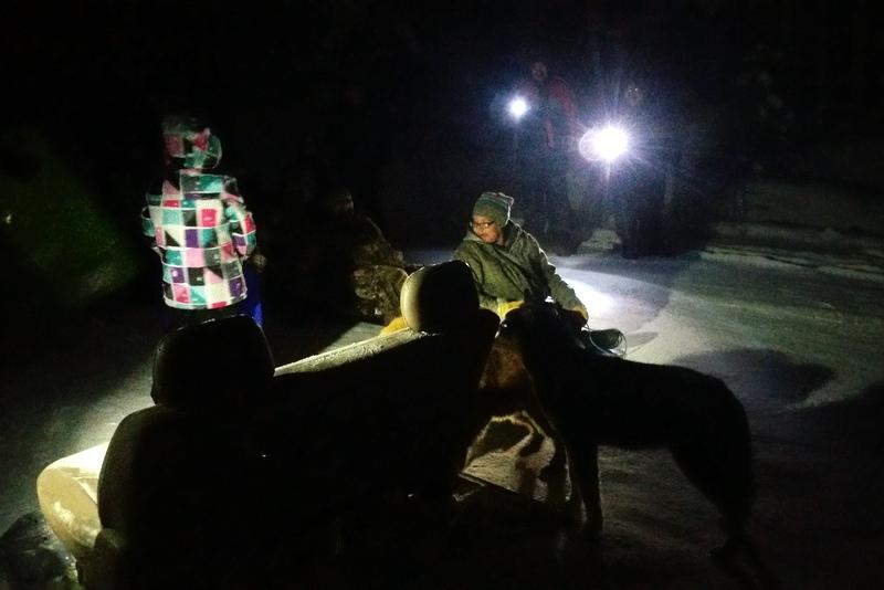 sledding at night