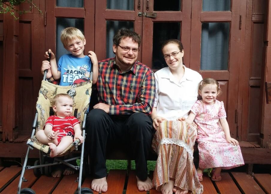 The Lattin family with children Jube, Havilah, and