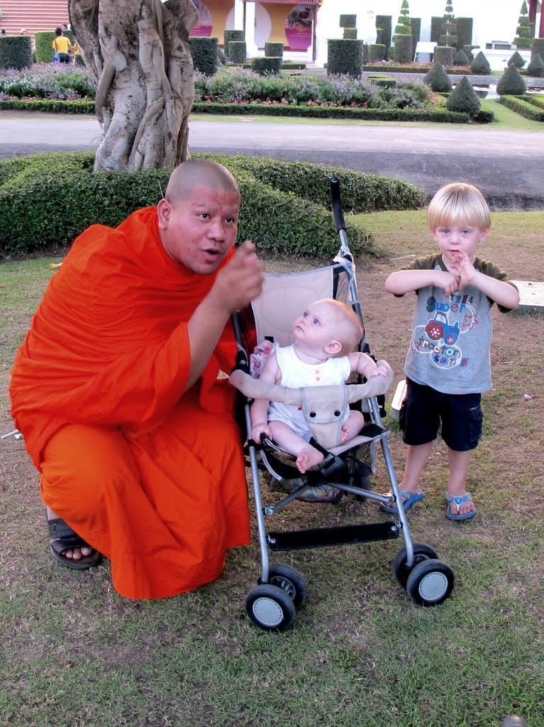 The children with a Buddhist monk